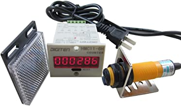 DIGITEN 0-999999 Digital LED Counter +PhotoElectric Switch Sensor +Reflector Automatic Conveyor Belting 100-220VAC
