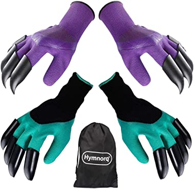 Hymnorq Garden Genie Gloves with Claws on Each Hand for Digging Soil, 2 Pairs Purple and Green, Durable Breathable Material, Waterproof Puncture Resistant, Universal Size, Ideal Gift for Gardeners