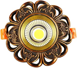 LED American Vintage Recessed Copper Downlights Energy Saving Round Embedded Spotlights Embedded Integrated Commercial Lighting Fixture Anti-fog Round Grille Mall LED Panel Ceiling Light Floodlight