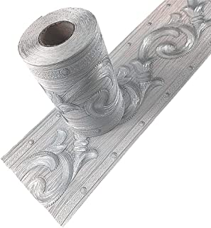 Taamall Simplemuji Silver Flower 3D Wallpaper Border Peel & Stick PVC Wall Covering Kitchen Bathroom Bedroom Tiles Decor Sticker,4 Inch by 16.5 Feet