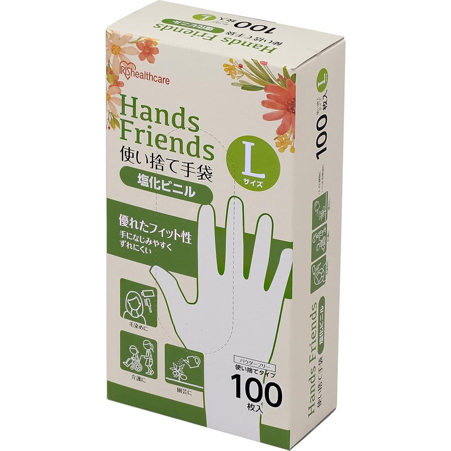 傾向周り肺炎使い捨て手袋 クリア 塩化ビニル 100枚 Lサイズ PVC-100L