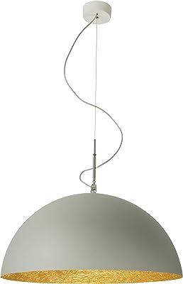 In-es.artdesign Mezza Luna 1 Cemento Lampada, Grigio/Oro