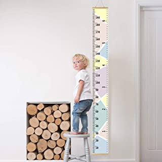 Miaza Baby Growth Chart Ruler with Wood Frame,Portable, Roll-up,Height Chart Height Measure Chart 7.9'' x 79'' Canvas Hanging Height Growth Chart for Baby Nursery Decoration(Colour) 79