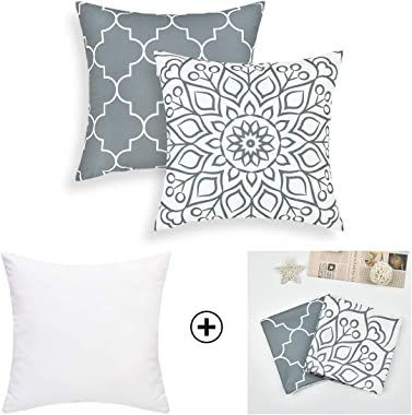 Fascidorm Set of 2 Grey Decorative Pillows with Inserts Modern Throw Pillows Cushion Pillows for Bed Sofa Chair Car 18 x 18 I
