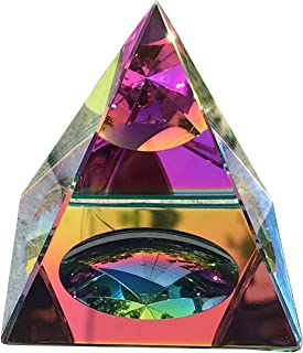 Amlong Crystal Iridescent Pyramid - Rainbow Colors 3.5 Inches Tall with Gift Box