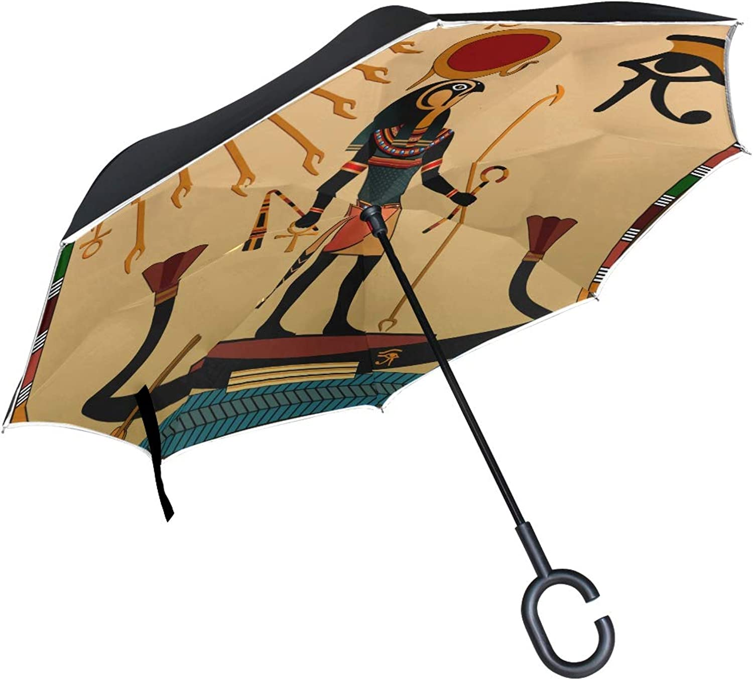 Double Layer Ingreened Ancient Ethnic Tribal Culture Egypt Totem Art African Anubis Sun God Umbrellas Reverse Folding Umbrella Uv Predection Straight Umbrella for Car Rain Outdoor with CShaped Handle