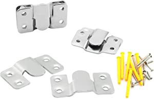 DZS Elec 3Sets Furniture Embedded Mounting Bracket Headboard Wall Mounting Hardware Small Hook Mirror Hook Matching Hook Stainless Steel Interlocking Z Clip (with Screws and Expansion Plastic Plug)