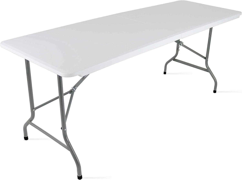 MobEventPro - Mesa Plegable de Camping (180 x 70 x 74 cm), Color Blanco