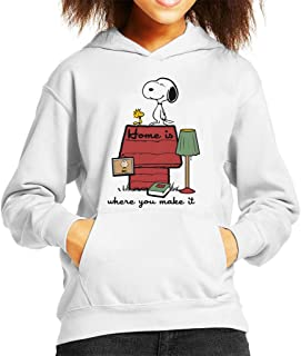 Home Is Where You Make It Snoopy Charlie Brown Kid's Hooded Sweatshirt