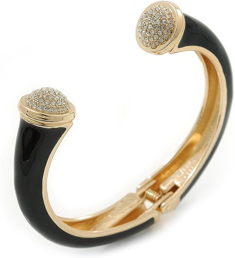 Avalaya Black Enamel, Crystal Hinged Cuff Bangle Bracelet in Gold Plated Metal - 19cm L