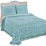 Collections Etc Calista Chenille Lightweight Bedspread with Fringe Border,...