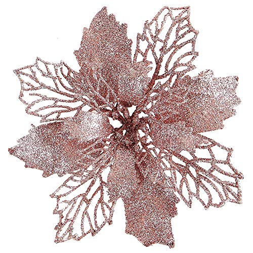 "12 pcs 6"" Christmas Poinsettia Flower, Glitter Poinsettia Tree Ornaments, Rose Gold Artificial Flower Decorating Wreath Garland, Great for Wedding Holiday and Home Decor, with Stems"