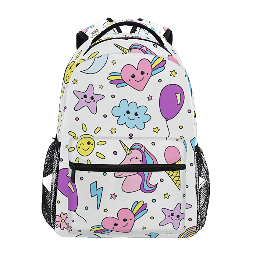 COVOSA Cute Seamless Pattern Unicorn Rainbow Balloon Lightweight School backpack Students College Bag Travel Hiking Camping Bags