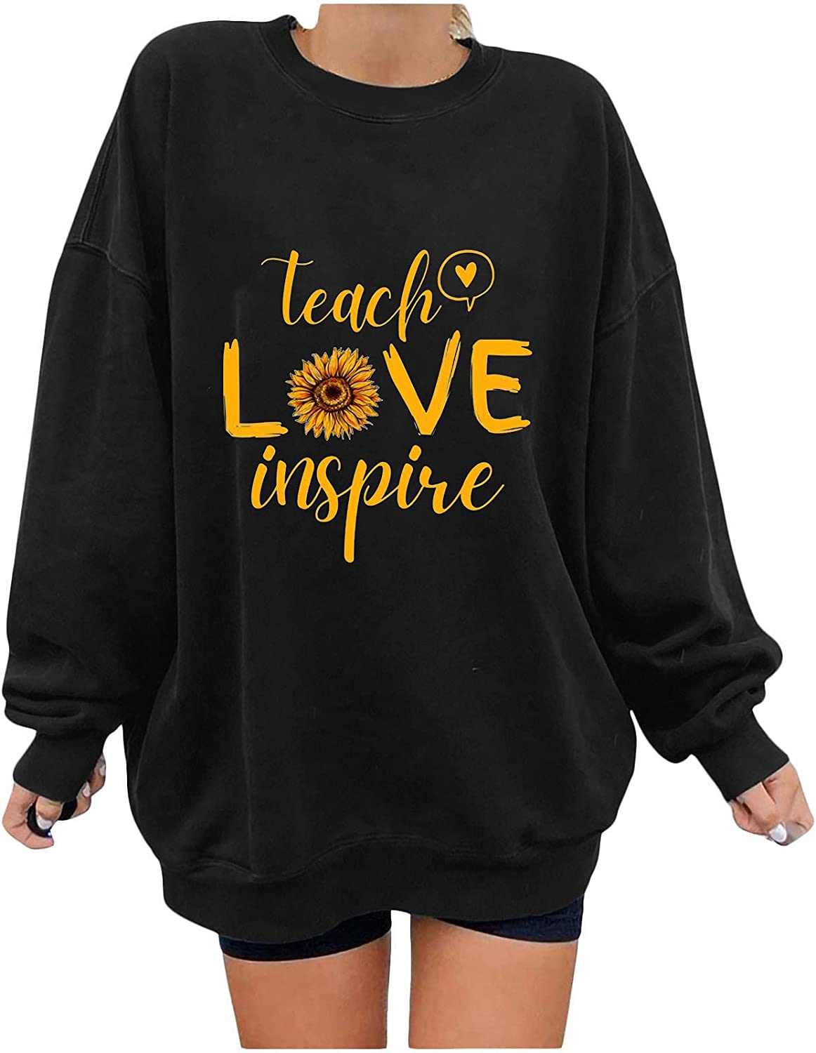 Women's Oversized Pullover Teach Love Inspire Sweatshirts Loose Fit Casual Crewneck Tops Fall Clothes Teacher Gifts