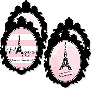 Paris, Ooh La La - 20 Shaped Fill-In Invitations and 20 Shaped Thank You Cards Kit - Paris Themed Baby Shower or Birthday Party Stationery Kit - 40 Pack