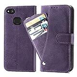 Asuwish Étui de protection en cuir pour Huawei P10 Lite/Nova Lite - Avec compartiment pour cartes -...