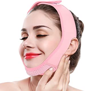 Facial Lifting Strap, V Line Mask Neck Double Chin Belt Skin Care Chin Lifting Firming Wrap(Pink)