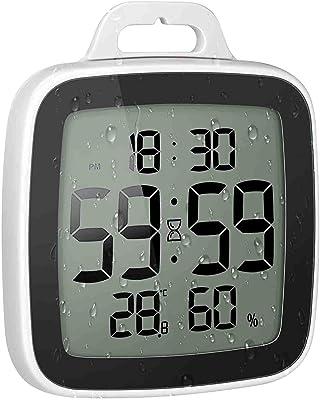 BALDR防水時計 デジタル 温湿度計 防水 シャワー時計 温度 湿度 デジタル 液晶 吸盤 壁掛け 置き時計 お風呂 防水クロック 時間表示 温度計 湿度計 バスルーム時計&防水時計 シャワー温度 湿度計 (Black)