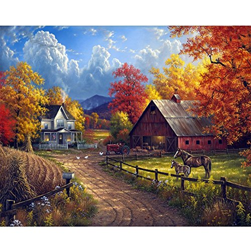 5D DIY Village Farm Diamond Painting by Number Kits 12X16 inches