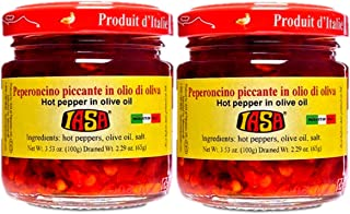 Iasa Peperoncino Piccante Hot Red Peppers in Olive Oil 100 Gr Jar (Pack of 2)