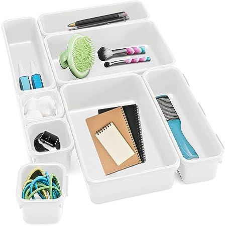 JIASHA Plastique Organisateur de Tiroir, 8 Pièces Bureau Tiroir Organisateur Maquillage Organiseur de Tiroir Rangement Plastique Séparateurs de Tiroir, pour Le Bureau Cuisine Salle de Bain (Blanc)