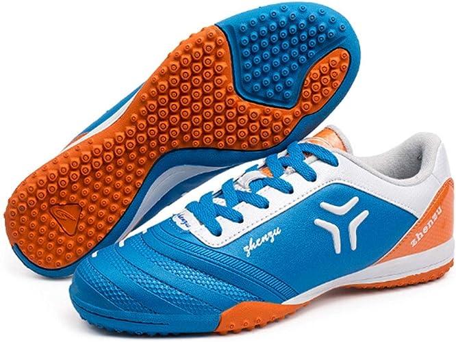 CELINEZL Le Football Brille Zhenzu Chaussures de Football en PU, entraîneHommest Professionnel en Plein air, Taille EU  38 (Bleu)