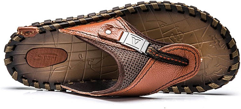 Easy Go Shopping Men Bottle Opener Flip Flops Summer Outdoor Fisherman Slippers Men's Beach Flip-Flops Leather Thong Sandals Cricket shoes (color   Brown, Size   9US 43EU)