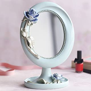 KTYXGKL European Double-Sided Princess Mirror Desktop Makeup Mirror Family Student Girl Heart Makeup Mirror 26.5x17 Makeup Mirror