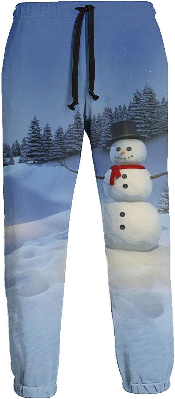 Men's Women's Sweatpants Winter Snow Night Snow-Man Athletic Running Pants Workout Jogger Sports Pant
