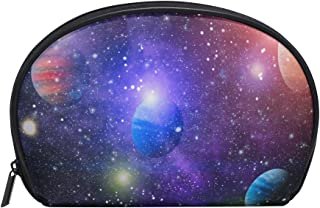 ALAZA Galaxy Planet Half Moon Cosmetic Makeup Toiletry Bag Pouch Travel Handy Purse Organizer Bag for Women Girls
