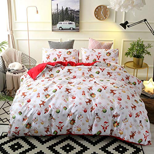 Christmas Duvet Cover Set Xmas Bedding Set Queen Theme Kids Duvet Set for Bedroom Decor (1 Quilt Cover + 2 Pillowcases, Queen Size)