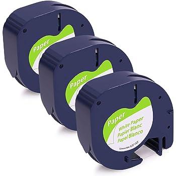 Dymo Letratag Band Kassette Etiketten Paper Yellow Plastic Tape 12mmx4m 1//2 K0E8
