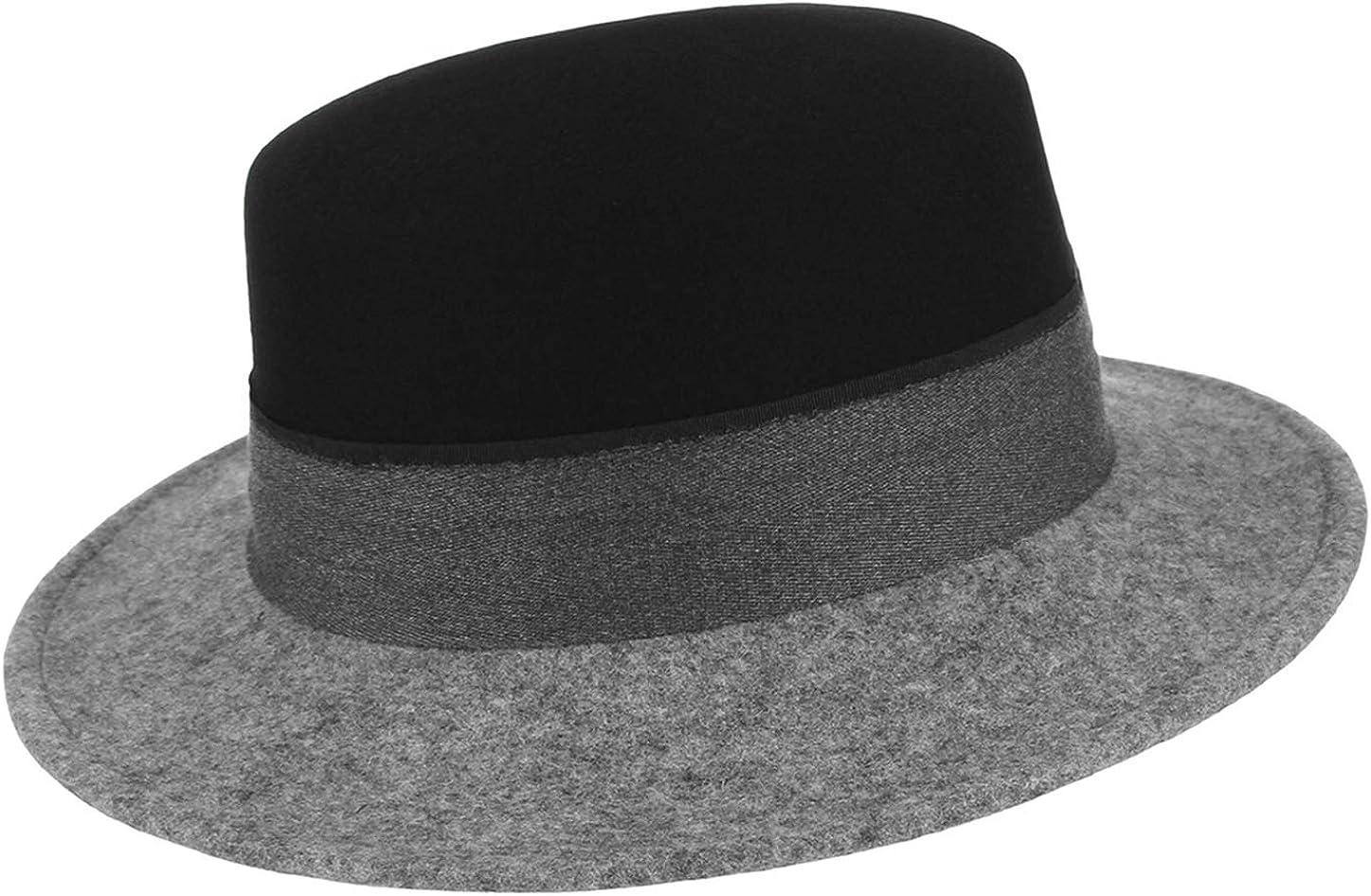 GEMVIE 100% Wool Flat Top Fedora Hat Mens Womens Vintage Gradient Color Wool Boater Hat with Band Black