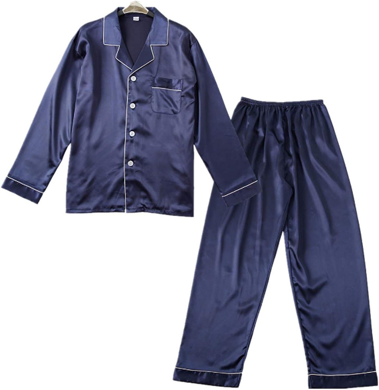 Men's Long Pajamas Set for Men 2pc Sleepwear Navy blue XL