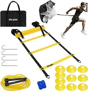 مجموعه آموزش سرعت چابکی - نردبان چابکی قابل تنظیم 12 سطح با کیف حمل ، چتر نجات ، 10 مخروط دیسک ، مورد استفاده برای تمرین فوتبال ، هاکی