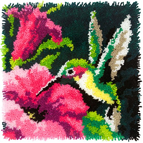 Dimensions Colorful Hummingbird Latch Hook Craft Kit, 16 x 16