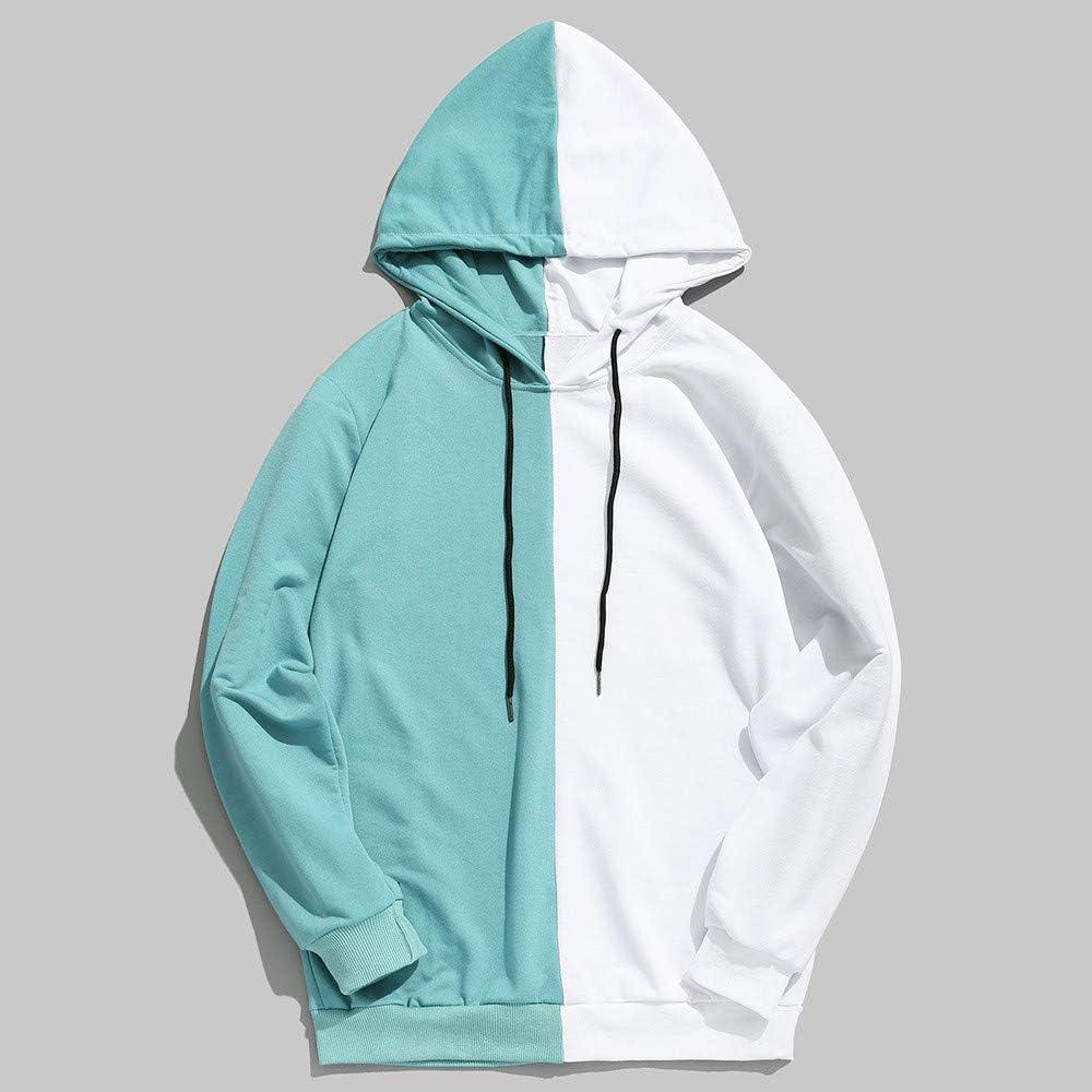 Asibeiul Men's Winter Hoodie Jacket Hooded Sweatshirt Patchwork Pullover Coat Outwear Slim Fit Warm Fashion Casual Blouse