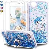 Feyten Funda para iPhone SE (2020) [2-Unidades Cristal Vidrio Templado], Glitter Moda 3D Bling Flowing Liquida Flotante Sparkly Brillante Carcasas para iPhone SE (2020) 4,7 Pulgadas (Azul)