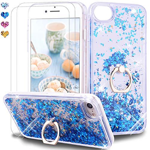 Feyten Kompatibel iPhone SE (2020) Hülle 4,7 Zoll mit Bildschirmschutz [2 Stück], Glitzer Flüssig Treibsand Fließend Glitter Quicksand Schutzhülle Handyhülle mit Ring 360 Grad Ständer (Blau)