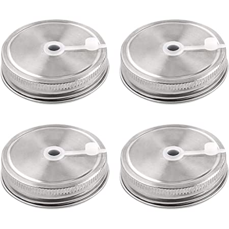 uxcell 4pcs Stainless Steel Wide Mouth Mason Jars Lids with Straw Hole Canning Lids for Drinking & Food Storage