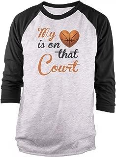My Heart is On That Court - Basketball 3/4 Sleeve Raglan T-Shirt