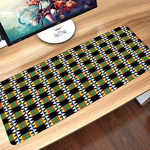 Tappetino per mouse da gioco,Modello Kente, design zulu etnico sudafricano con dettagli triangolari Fun,Pad con Base in Gomma Lavabile, Antiscivolo Tappetino Scrivania per Computer, PC e Laptop60x35cm
