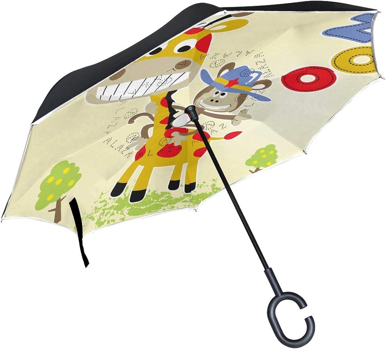 99c2bc1dc1e0 Giraffes Family Ingreened Umbrella Windproof Double Layer Car ...