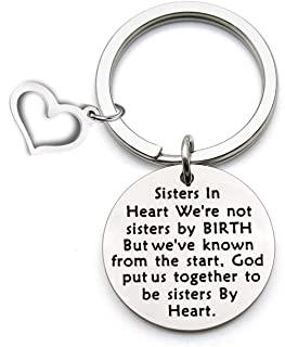 LQRI Sister In Law Gift Unbiological Sister Keychain We Weren't Sisters by Birth But We Knew from Keychain Sister BFF Best Friend Gift