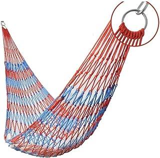 PAKUES-QO Loisirs Portable Nylon Corde Hamac Net Lit Lit Voyage en Plein Air Camping Crochet Balançoire Cadeaux pour Rando...