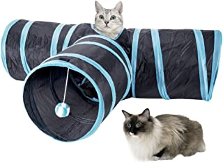 SlowTon Cat Tunnel Toy, Crackle Paper Collapsible Tube 3 way kitten tunnel toyThree Connected Run Road Way Tunnel Catnip H...