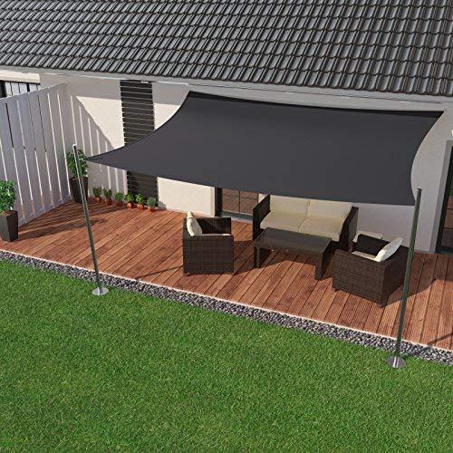 IBIZSAIL Sonnensegel wasserabweisend Sonnenschutz für Garten Balkon aus PES rechtwinklig-300 x 200 cm-Anthrazit(inkl. Spannseilen)