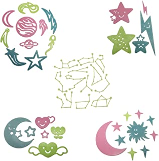Glow In The Dark Stars Wall Décor Stickers, 43 pcs 3D Luminous Fluorescent Universe Sun Moon Stars Stickers Set for Bedroom/Living Room/Dormitory/Kids Room/Home Decor/Background/Window Decoration