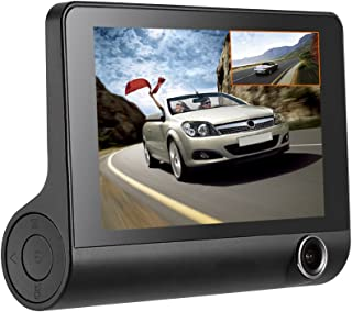 KKMOON 4Inch 1080P Three Lens Car DVR Dash Cam Camera Camcorder Night Vision/G-sensor/Motion Detection/Loop Recording