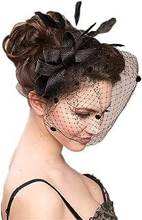 Women's Bowknot Feather Detachable Cocktail Party Veil Fascinator Hair Clip Hat